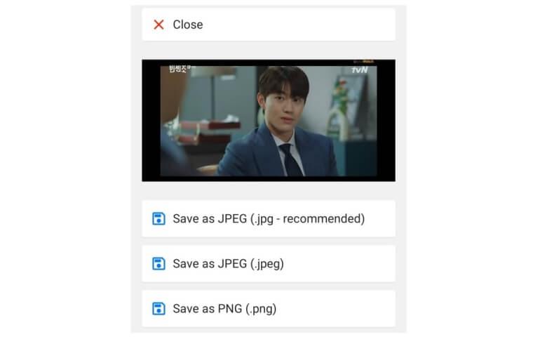 4. Setelah foto anda muncul di layar aplikasi pilih Save as JPEG .jpeg.