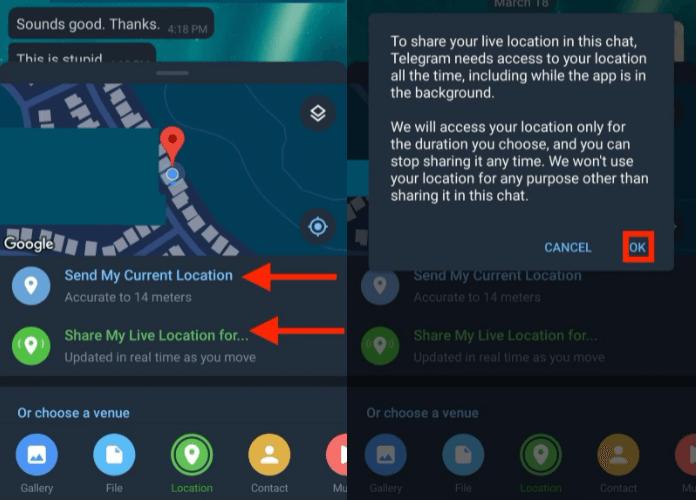 Cara Share Lokasi di telegram