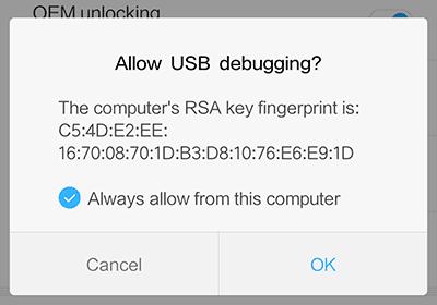 allow usb debugging mode
